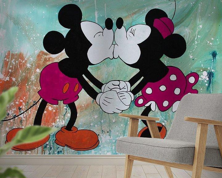 Beispiel fototapete: Micky Maus und Minnie Maus von Kathleen Artist Fine Art