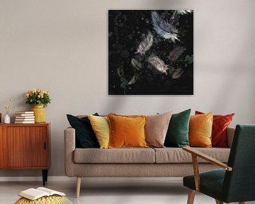 Artwork - schwarzer Hintergrund mit farbigen Daunenfedern von Emiel de Lange