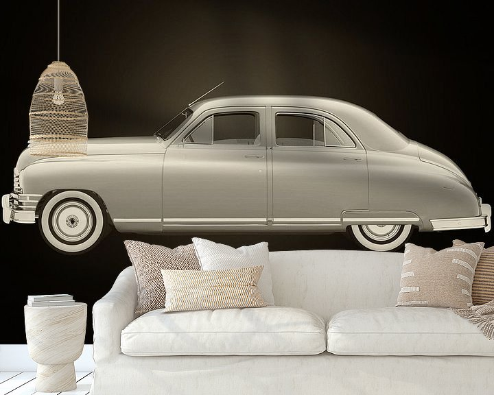 Sfeerimpressie behang: Packard Eight Sedan Zwart en Wit van Jan Keteleer