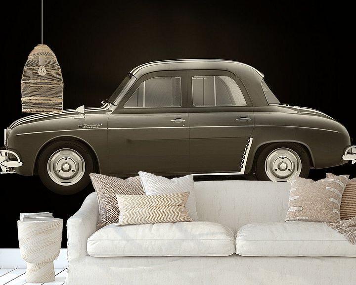 Sfeerimpressie behang: Renault Dauphine Gordini Zwart en Wit van Jan Keteleer