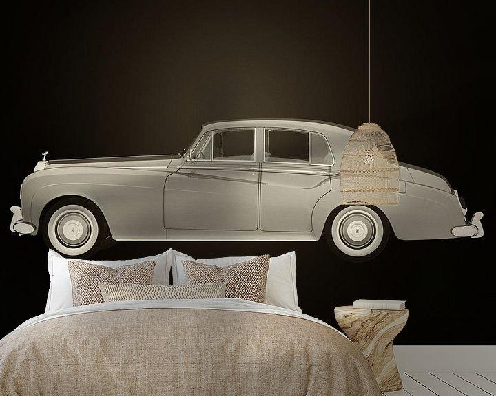Sfeerimpressie behang: Rolls Royce Silver Cloud III Zwart en Wit van Jan Keteleer