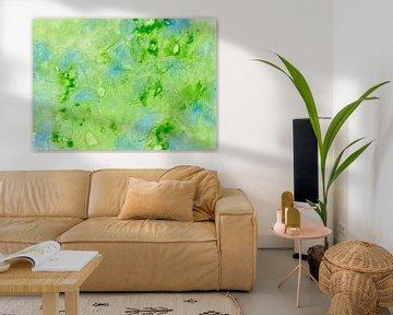 Fantasievolles Aquarell in den Farben in Grün und Blau von Heike Rau