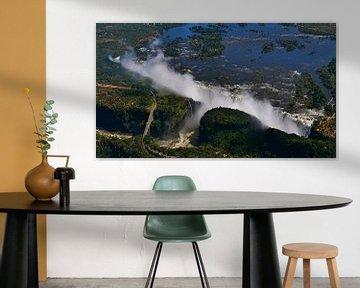 Spectaculaire luchtfoto van Victoria Falls in Afrika