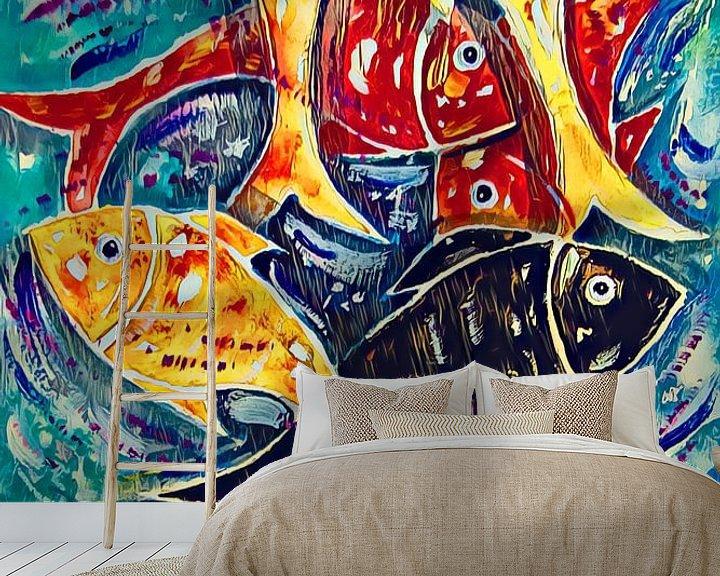 Sfeerimpressie behang: Negen Vissen van h-Edys