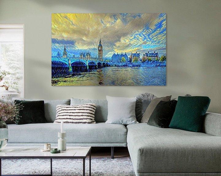 Sfeerimpressie: London Bridge in de stijl van Van Gogh Sterrennacht van Slimme Kunst.nl