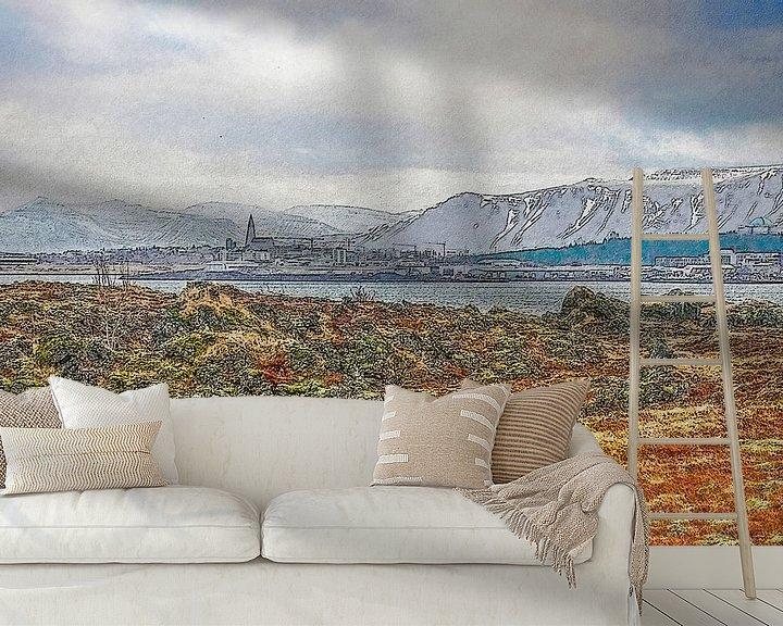 Sfeerimpressie behang: Uitzicht op Reykjavik, IJsland van Frans Blok