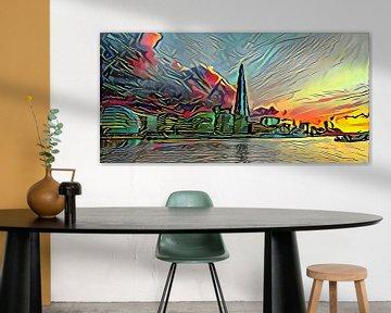 Picasso-stijl Schilderij Theems en Skyline van Londen