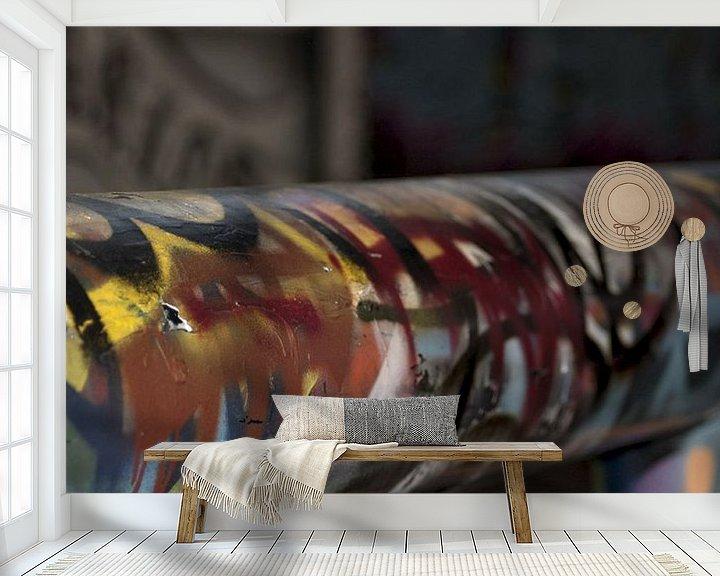 Beispiel fototapete: Graffiti farbiger Balken von Agnes Meijer