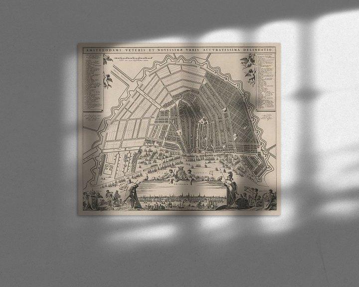 Sfeerimpressie: Plattegrond van Amsterdam , ca 1652 van Gert Hilbink