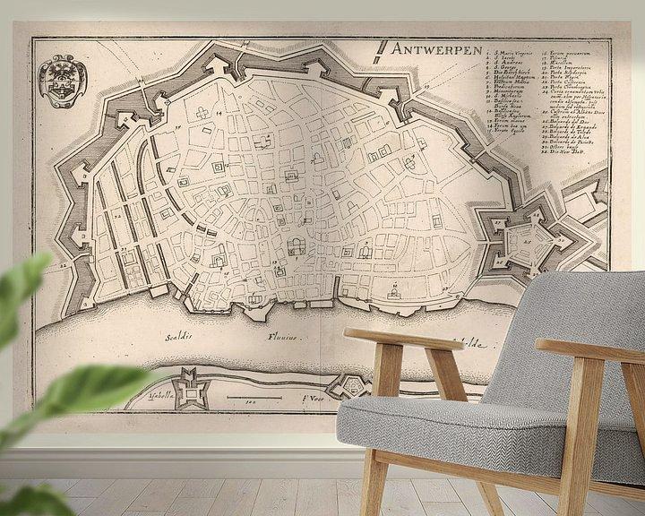 Sfeerimpressie behang: Plattegrond van Antwerpen met wit kader, anno ca 1705 van Gert Hilbink