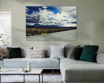 Landschaft - Neuseeland - Straße neben dem Mount Taranaki - Gemälde von Schildersatelier van der Ven