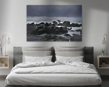 Paysage - Nouvelle-Zélande - Kaikoura - Côte accidentée - Tempête - Peinture