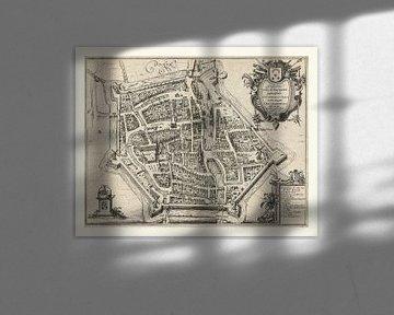 Karte von Dokkum, anno ca 1616. Weißer Rahmen von Gert Hilbink
