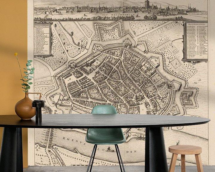 Impression: Carte d'Arnhem avec cadre blanc, anno ca 1660 sur Gert Hilbink
