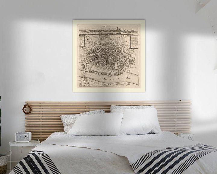 Beispiel: Karte von Arnheim mit weißem Rahmen, anno ca 1660 von Gert Hilbink