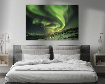 Haus in einem Fjord in Norwegen unter Polarlicht. von Marco Verstraaten