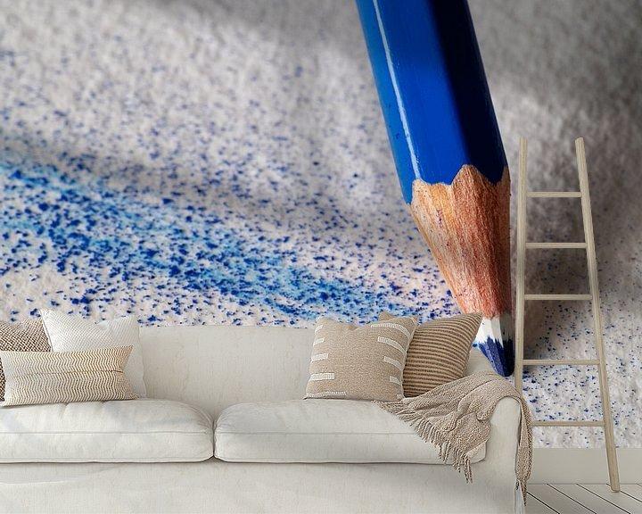 Beispiel fototapete: Blauer Buntstift im Detail von Andreas Müller