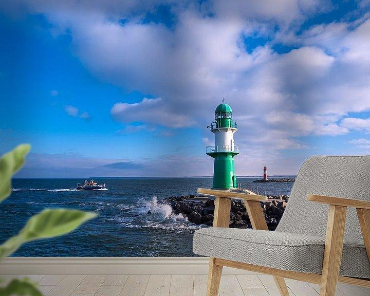 Beispiel fototapete: Mole und Boot an der Ostseeküste in Warnemünde. von Rico Ködder