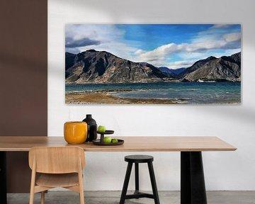 Landschap - Nieuw Zeeland - Bergen aan Tepako Rivier - Schilderij