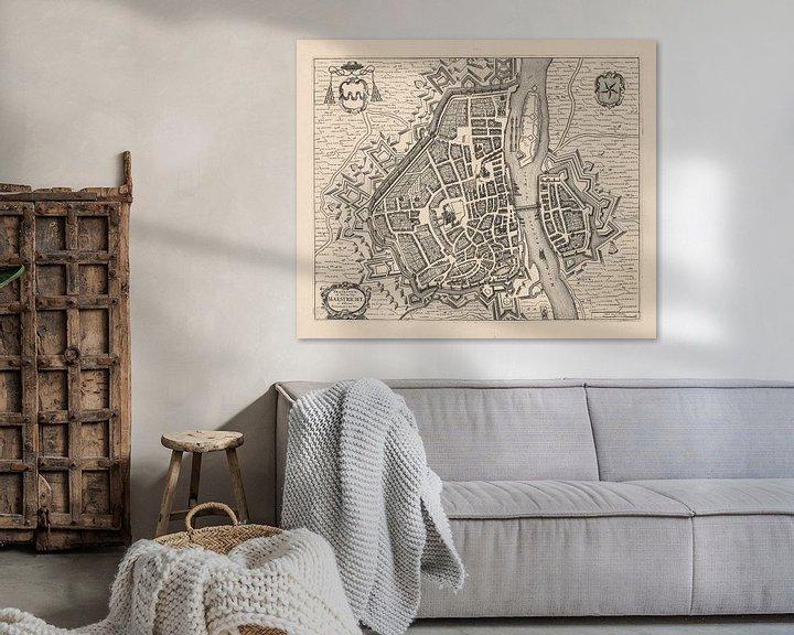 Sfeerimpressie: Plattegrond van Maastricht van anno ca 1700 van Gert Hilbink