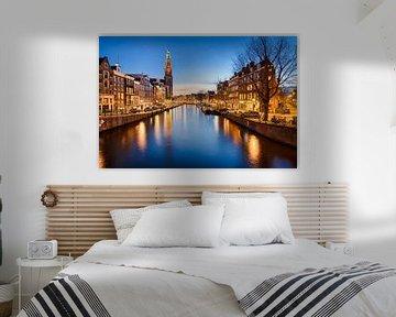 Westerkerk in Amsterdam bij nacht van Michael Abid