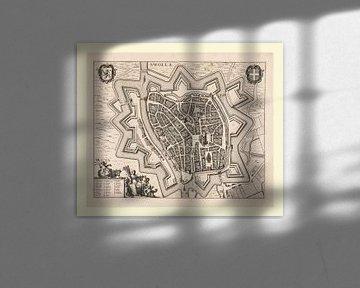 Plattegrond van Zwolle van ca 1657, met een wit kader van Gert Hilbink