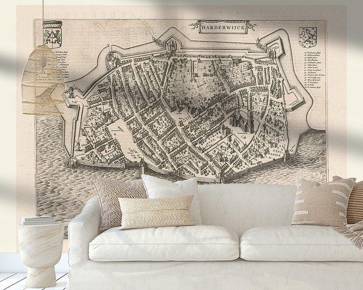 Sfeerimpressie behang: Kaart van Harderwijk aan de Zuiderzee uit ca 1652, met wit kader van Gert Hilbink