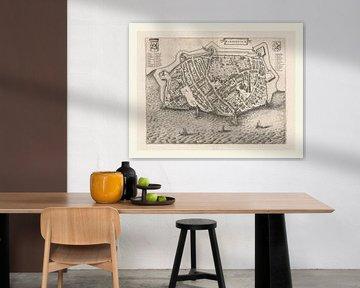 Karte von Harderwijk an der Zuiderzee von ca. 1652, mit weißem Rahmen von Gert Hilbink