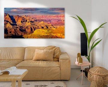 Panorama de l'érosion colorée au parc national du Grand Canyon en Arizona (États-Unis) sur Dieter Walther
