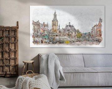 Markt, Rathaus und St. Johanniskirche in Roosendaal (Aquarell)