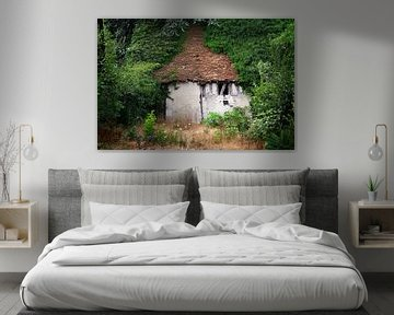 Verfallenes und verlassenes Hobbit-ähnliches Haus im Wald von Peter de Kievith Fotografie