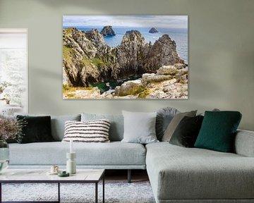 Rotsen en kliffen aan de kust van Bretagne, Frankrijk van Evelien Oerlemans