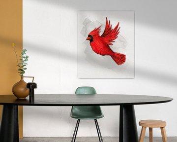 Fliegender roter Kardinal von Bianca Wisseloo