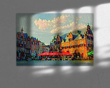 Kleurrijk Schilderij Nijmegen Grote Markt op Zomerdag