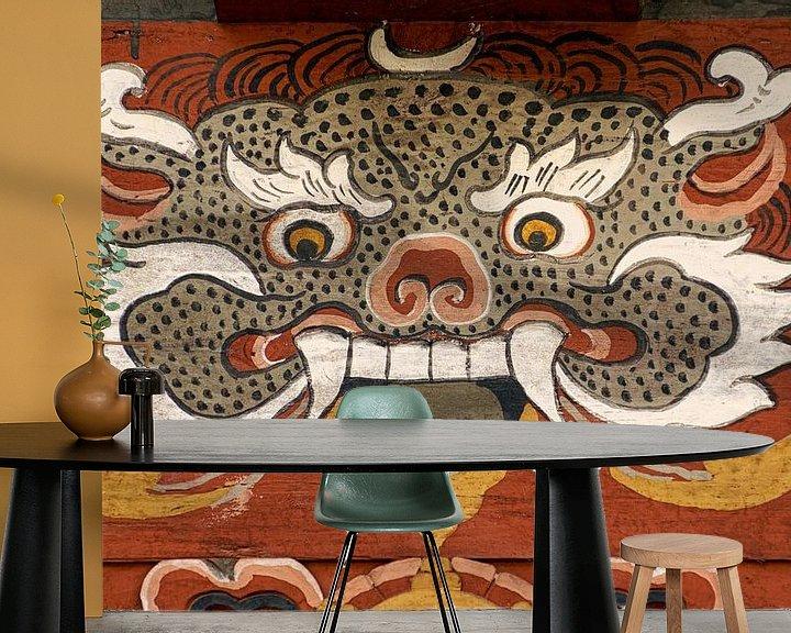 Sfeerimpressie behang: Demon in de Trongsa Dzong in Butan, van Theo Molenaar