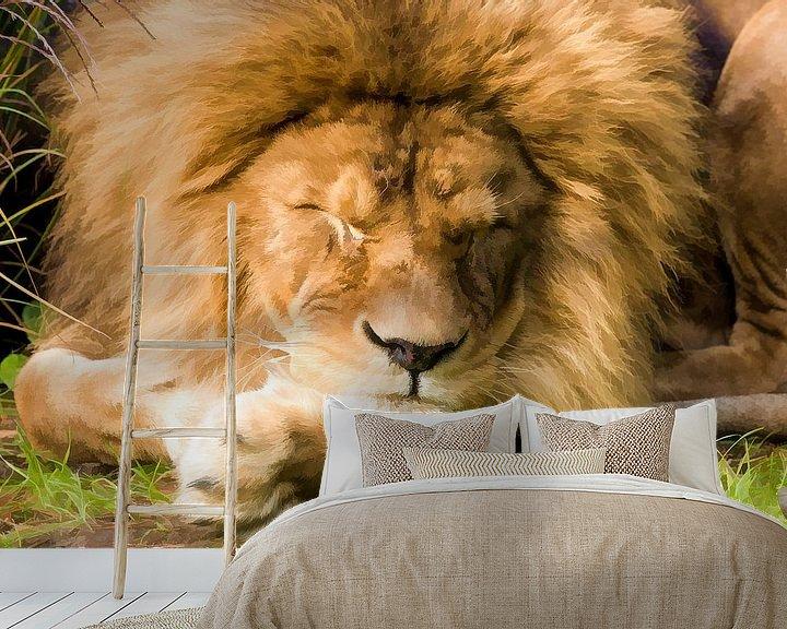 Beispiel fototapete: Schlafender Löwe von Michar Peppenster