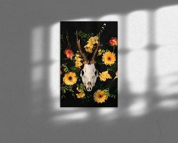 Dia de los Muertos - Hirsch-Schädel - Reebok Geweih von Nikki Segers