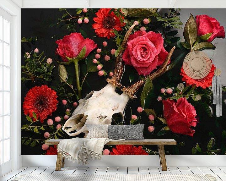 Sfeerimpressie behang: Dia de los Muertos - Herten schedel - Reebok gewei van Nikki Segers