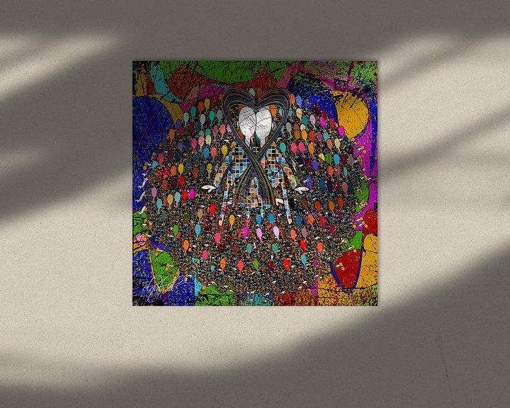 Sfeerimpressie: kleurrijke digitale abstracte kunst van een liefhebbend paar van EL QOCH