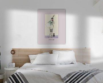 Le petit chien - pastel, lente, hondje, hond, art deco fashion print van NOONY