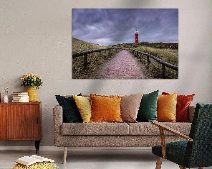 Sfeerimpressie: Texelse vuurtoren, strom lucht. van Justin Sinner Pictures ( Fotograaf op Texel)