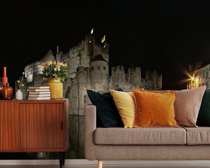 Impression: Le Château des Comtes et la rue du Bourg à Gand la nuit sur Kristof Lauwers