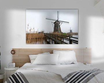 Kinderdijk Windmühle im Nebel von Merijn Loch