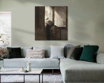 Frau lehnt sich aus einem offenen Fenster, Cornelis Ploos van Amstel (ca. 1795-1828)