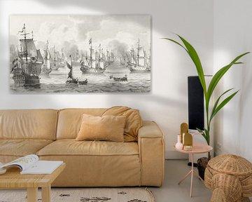 Seestück mit Kriegsflotte , Cornelis Ploos van Amstel (1821)