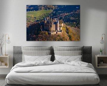 Luchtfoto van kasteel Hohenzollern van Werner Dieterich