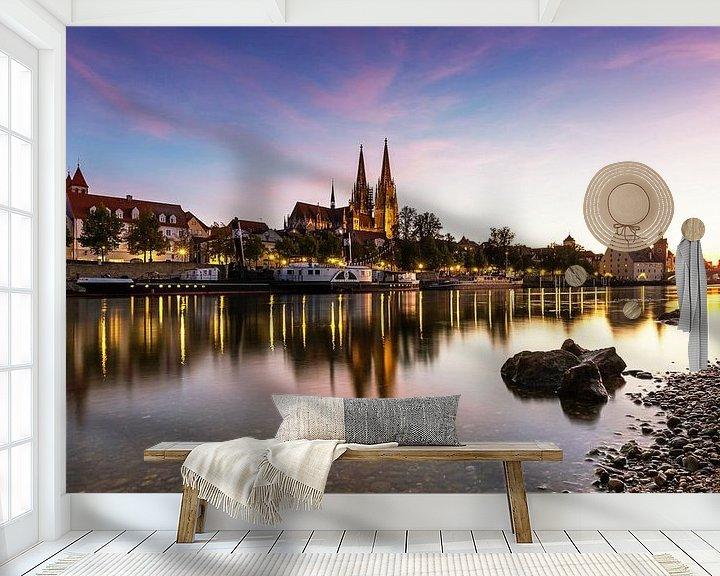 Sfeerimpressie behang: Regensburg bij zonsondergang van Frank Herrmann
