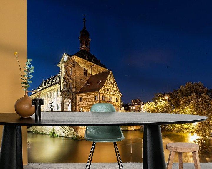 Sfeerimpressie behang: Bamberg - Het oude stadhuis op het blauwe uur van Frank Herrmann