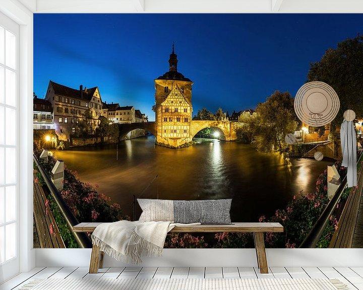 Sfeerimpressie behang: Bamberg - Oude Stadhuis Panorama op blauw uur van Frank Herrmann