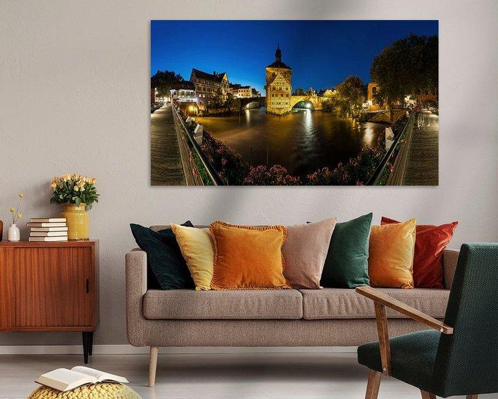 Sfeerimpressie: Bamberg - Oude Stadhuis Panorama op blauw uur van Frank Herrmann
